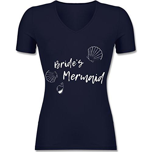 JGA Junggesellinnenabschied - Brides Mermaid - Tailliertes T-Shirt mit V-Ausschnitt für Frauen Dunkelblau