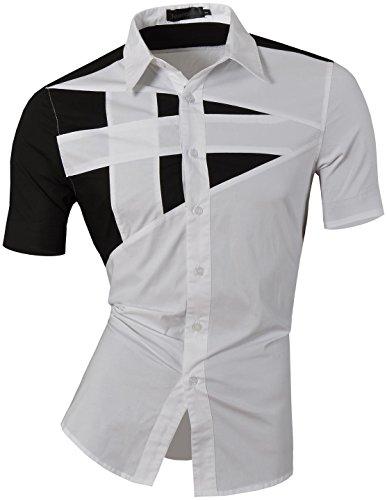 Jeansian Camisa De Hombre De Manga Corta Moda Men Fashion Slim Fit Casual Short Sleeves Shirts Z002 White XL