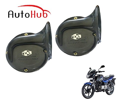 Auto Hub Trumpet Bike Horn For Bajaj Pulsar 150 DTS-i - Set of Two (Black)  available at amazon for Rs.549