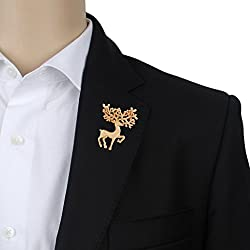 Eccellente Metal Lapel Pin, Golden, Deer Brooch