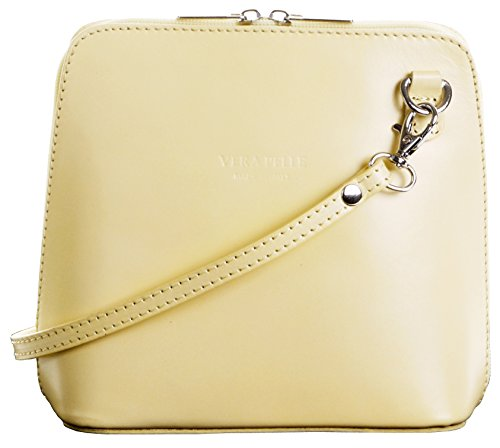 In pelle italiana, Small/Micro croce corpo borsa o borsetta borsa a tracolla.Include una custodia protettiva di marca. Limone