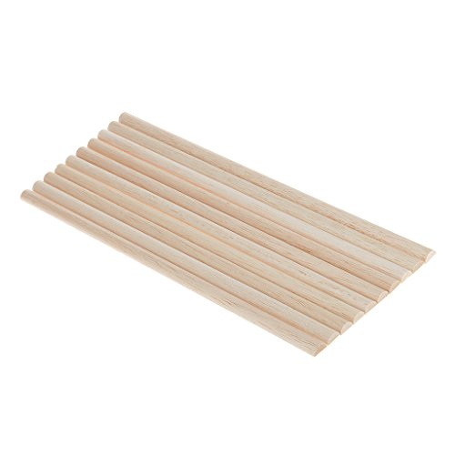 MagiDeal 10 Stück Rundstab Bastelstäbe Holzstab Unfinished Holz Handwerk Halbkreis Stick Dowel Rod - 11mm - Unfinished Holz