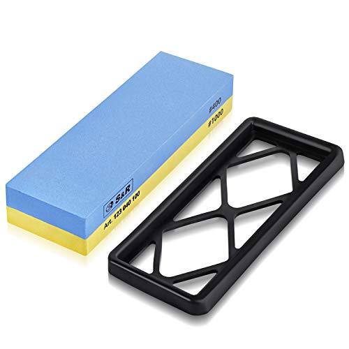 S&r pietra affilacoltelli professionale 100% corindone per affilare coltelli, forbici, cesoie, scalpelli grana 400/1000. base silicone antiscivolo.