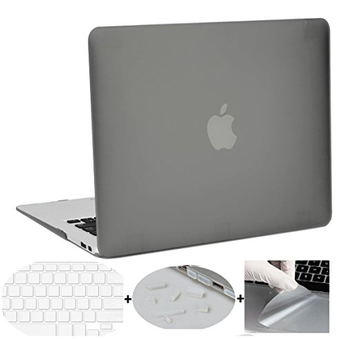 "MacBook Air 13"" 13.3 Inch Case + (Get 3 MACBOOK-SAViOUR Accessories FREE) Smooth Touch Matte Hard Shell Skin Cover Case For Apple MacBook Air 13"" Inch 13.3 Inch Hard Shell Case (Gray)"