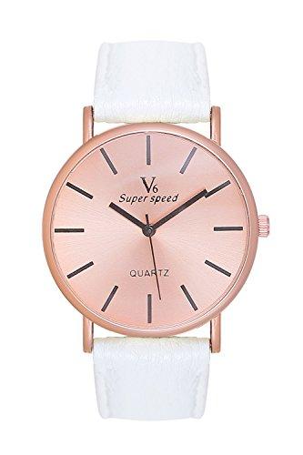 Edle, schlichte Armbanduhr Damenuhr Uhr Rosegold Rose Gold Lederarmband Weiss Weiß Blogger Mingbo