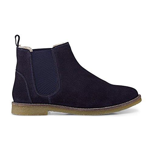 Cox Damen Winter Chelsea Boots Aus Veloursleder, Blaue Stiefeletten mit Flachem Absatz Blau Rauleder 39