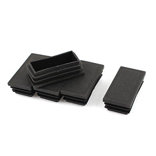 Sourcingmap Bouchons rectangulaires Obturation de Tuyau 60 mm x 30 mm-Noir-Lot de 5
