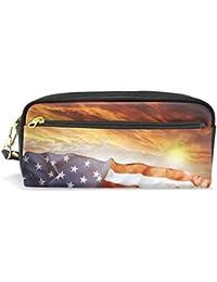 4020f94e89 studenti di matita della bandiera americana rosso navy color Sunup PU  Leatehr organizer portapenne box donne borsa…