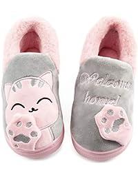 Vunavueya Zapatillas de Estar por Casa para Unisex Niños y Adulto Niño Niña Zapatos Pantuflas Invierno Mujer Hombre Interior Caliente Peluche Forradas Slippers