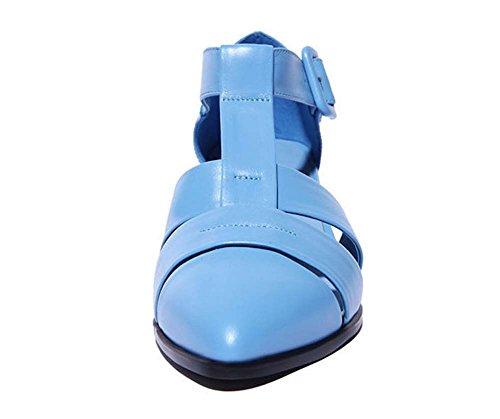 L&Y Donna con punta a punta in pelle tacco medio Heels Sandali romani Scarpe da Corte Blu Nero Blu