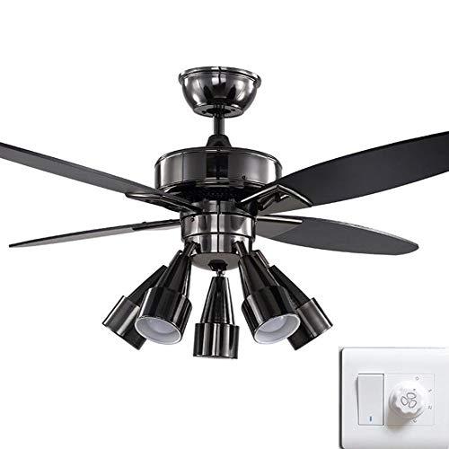 Ventilador de Techo con Luz Lámpara 120cm Negro Piano Pintar Cabezal LáMpara 90 ° Arbitrariamente Girar ABS Aspa Del Ventilador E27 * 5 (Control de pared)