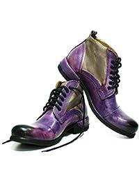 a06f32812138 Modello Parione - Handgemachtes Italienisch Leder Herren Violett Stiefel  Stiefeletten - Rindsleder Handgemalte Leder - Schnüren