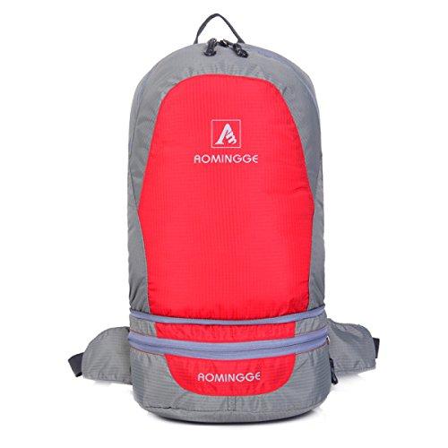 Outdoor Faltbar Schulter Tasche Multifunktionales Tragbarer Rucksack Leichte Red
