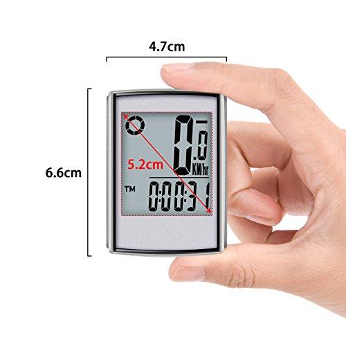 Elinker Fahrradcomputer mit großer LCD Hintergrundbeleuchtung und Motion Sensor für die Verfolgung der Geschwindigkeit und Entfernung, Wireless Radcomputer Drahtlos Tachometer Kilometerzähler - 2