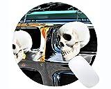Kundengebundenes Rechteck rutschfestes Gummi Mousepad, Schädelhalloween-Stamm oder Behandlung inspirierend Zitat-runde Mausunterlage