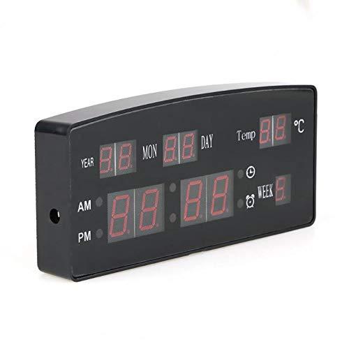 HDKHFL USB-Digital-Wecker, Hintergrundbeleuchtung für die Stummschaltung der Hintergrundbeleuchtung, elektronische Tischuhr mit Sprachkalender, Datumstemperatur-LED-Uhr, EU-Stecker