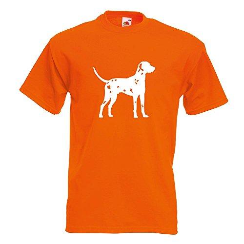 KIWISTAR - Dalmatiner Dalmatinac Hund T-Shirt in 15 verschiedenen Farben - Herren Funshirt bedruckt Design Sprüche Spruch Motive Oberteil Baumwolle Print Größe S M L XL XXL Orange