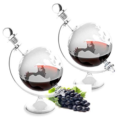 Lantelme 7312 Glaskaraffen Set 2 Stück - Karaffen für Cognac - Whiskey - Likör oder Wein aus Glas mit eingravierter Weltkarte