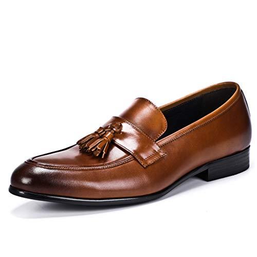 Mocassini con nappine retrò da uomo slip in vera pelle lucida su scarpe eleganti eleganti,brown- uk 9.5 eu 46