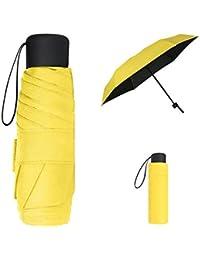 Vicloon Mini Paraguas del Sol,Paraguas de Viaje Portátil con Diseño de Esqueleto Mejorado y 210T Negro Tela de Goma, Paraguas Plegables y Compacto Resistencia UV & Impermeable