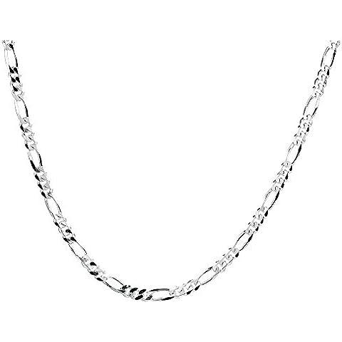 Collar cadena pulsera tobillera Tipo Figaro corte de diamante de fina plata de ley 925 1mm Bisutería Italiano Mujer Hombre - 15, 20, 25, 30, 35, 40, 45, 50, 55, 60, 65, 70, 75, 80, 85, 90, 95, 100cm