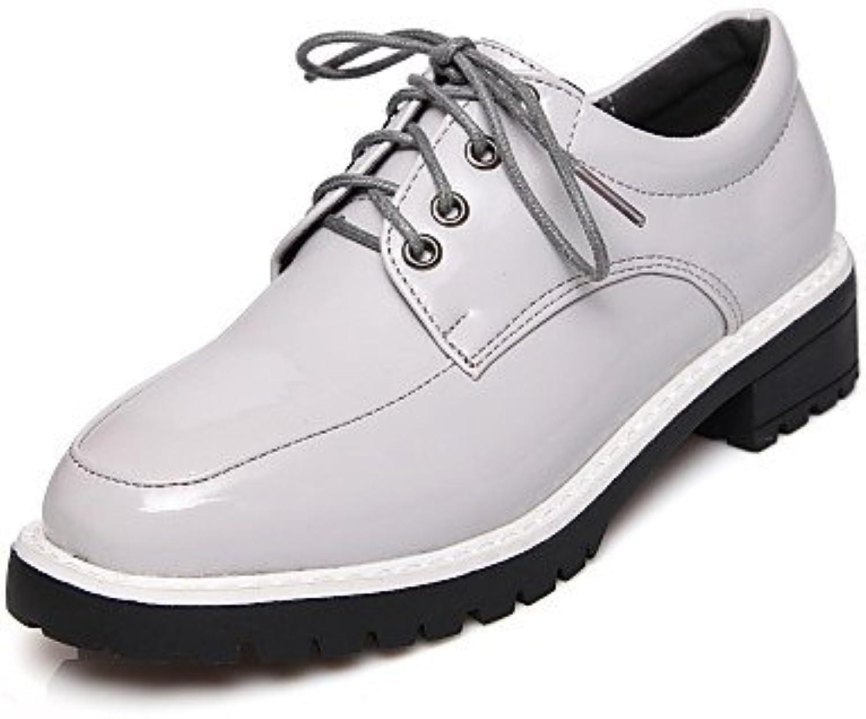 NJX/ hug Zapatos de mujer - Tacón Robusto - Punta Redonda - Oxfords - Casual - Semicuero - Negro / Gris , gray-us8...