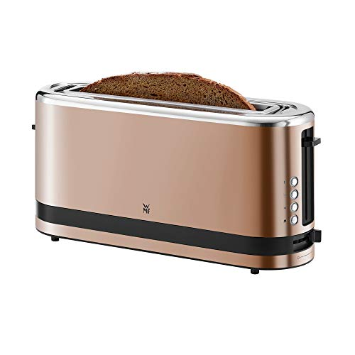 WMF Küchenminis Langschlitz-Toaster (900 W, integrierter Brötchenwärmer, 2 XXL Brotscheiben, Auftau-Funktion) cromargan matt/ kupfer