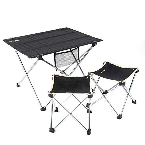 QIANGDA Camping Pliante Table avec 2 Chaises Alliage D'aluminium Tissu d'Oxford Antidérapant Portable Rouler dans Un Sac De Plein Air Noir, M/L Optionnel (Taille : M)