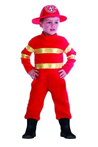 FIORI PAOLO 61342.3-4-Baby bombero disfraz niño, Rojo, 3-4años