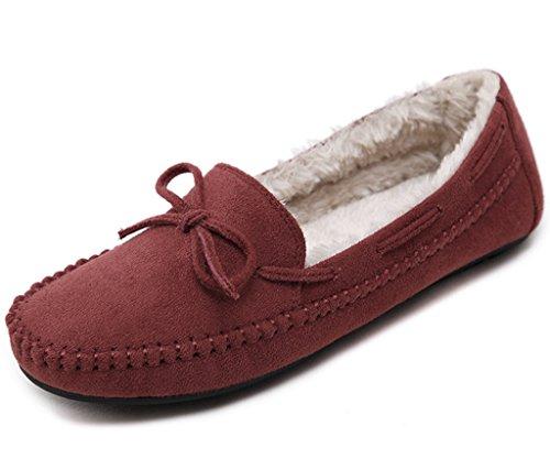 Minetom Damen Winter Mokassins Hausschuh Warme Erbsen Schuhe Flache Stiefel Mit Bowknot Loafers Schuhe Orange EU 38 (Schuhe Flache Satin)