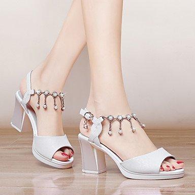 LvYuan Da donna-Sandali-Formale Casual Serata e festa-Altro-Quadrato-Finta pelle-Rosa Bianco White