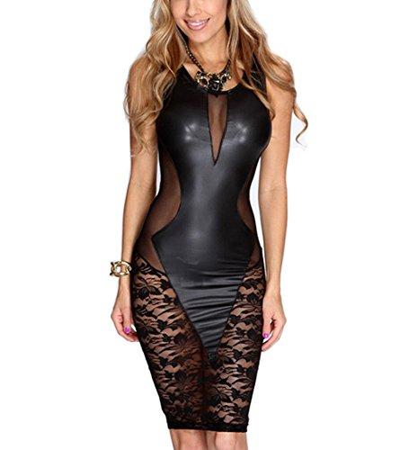 DuuoZy Frauen Backless Netzgarns figurbetontes Kleid Sexy Kunstleder Stripper Unterwäsche-Wäsche , black , Free (Sexy Renaissance Kleider)