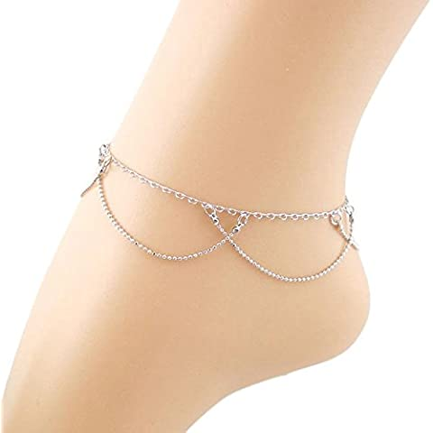 Pyrty (TM)Caliente ! Doble cadena cortina para el tobillo de la pulsera de la sandalia de la playa del pie descalzo joyer¨ªa 28 de de mayo
