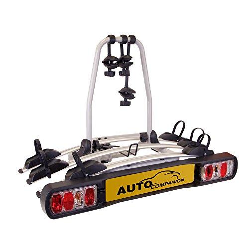 Soporte para bola de remolque con plataforma trasera para 3 bicicletas de Auto Companion