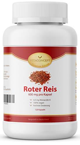 Fermentierter Roter Reis 600 mg mit Monacolin K 4,5 mg HOCHDOSIERT - 120 Roter Reis Kapseln - Monascus purpureus - VITACONCEPT -