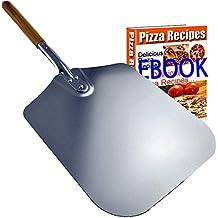 Pala profesional para pizza de aluminio, con mango de madera de 20 cm y pala