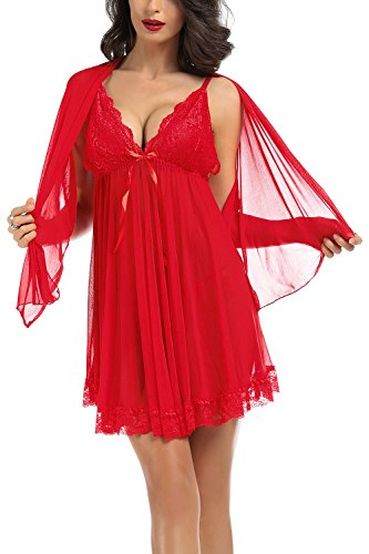 Tyhbelle Damen Reizwäsche Nachtkleid Reizwäsche Tief V mit G-string Nachtmäntel Nachthemd (XXL, Rot) - 2
