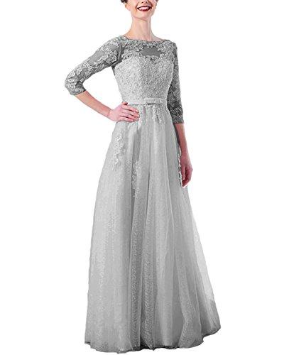 LuckyShe Damen Elegant Lang A-Linie Spitze Abendkleider mit 3/4 Ärmel