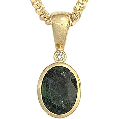 jogr Abo ciondolo ovale oro giallo 5851tormalina verde 1diamante 0,01Ct. Oro ciondolo
