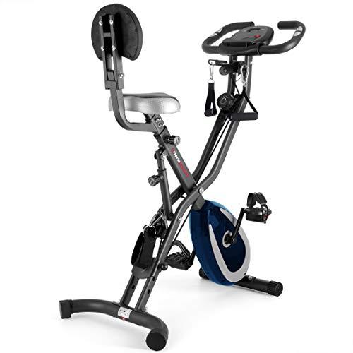 Ultrasport F-Bike 400BS Fahrradtrainer Cross mit Rückenlehne, Zugbandsystem, LC-Display und App, faltbar, dunkelgrau/navy
