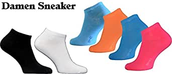 10 bis 60 Paar Damen Herren Sneaker Socken Sport Füßlinge Baumwolle trendige Farben 35-38 ; 39-42 ; 43-46 (35-38, 12 Paar)