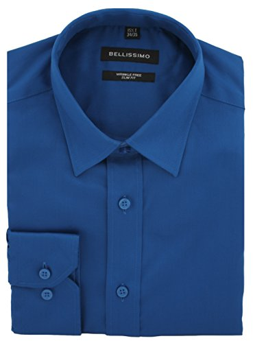 Bellissimo raso di lusso Slim Fit camicia senza grinze Royal Blue
