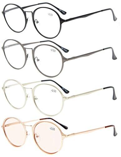 Eyekepper 4-Pack bisagras de primavera Vintage los anteojos redonda incluida lentes de la computadora de lente teñida