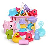 EisEyen Badespielzeug Geschenkset Ocean Mini Tiere Squeeze und Spritztiere Badespielzeug mit lustige Badetiere für Badewanne, Pool und Schwimmbad