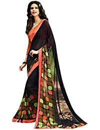 Craftsvilla Womens Georgette Embellished Designer Multicolor Saree With Blouse Piece