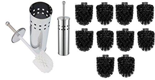 WC Bürstengarnitur / WC Bürste, Toilettenbürste silber, 12mm Gewinde - inkl. 10 Ersatzbürsten / Bürstenkopf