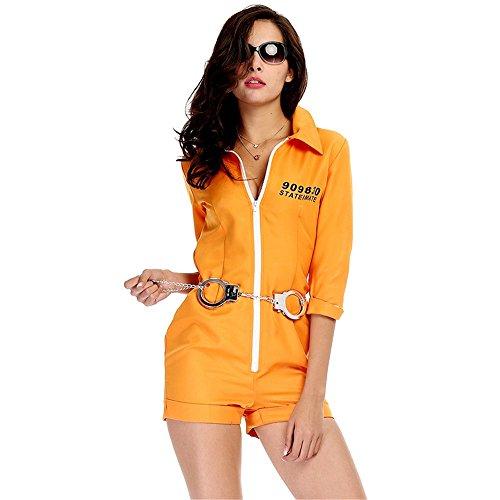Zhongsufei Perfekt für Halloween, Gelber Halloween-Weiblicher Gefangener-Rollenspiel-Anzug OU-Fabrik-direkter Gefangener-Spiel-Anzug Maskerade Kleid (Größe : XL)