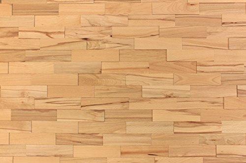 Wandverkleidung Holz 3D Optik I Buche Living I 1m² nachhaltige EchtHolz Wandpaneele I Moderne Wanddekoration Wohnzimmer, Küche