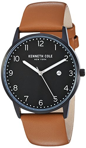 Kenneth Cole New York Men's Quartz Stainless Steel and Leather Casual Watch, Color:Brown (Model: KC50221004)