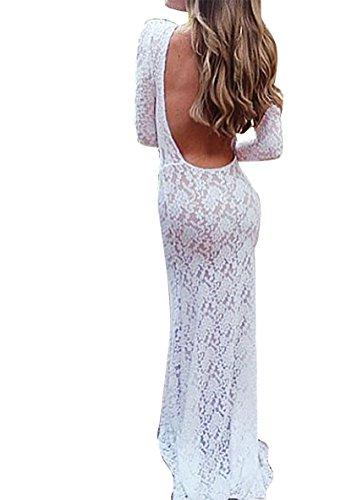 Damen Elegant Freizeitkleider Sommerkleider Langarm Spitzenkleider Reizvolle Beachwear Cocktailkleid Weiß